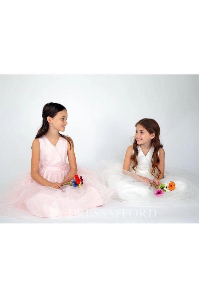 Wedding dresses for girls Tiered Tea length V Neckline Satin