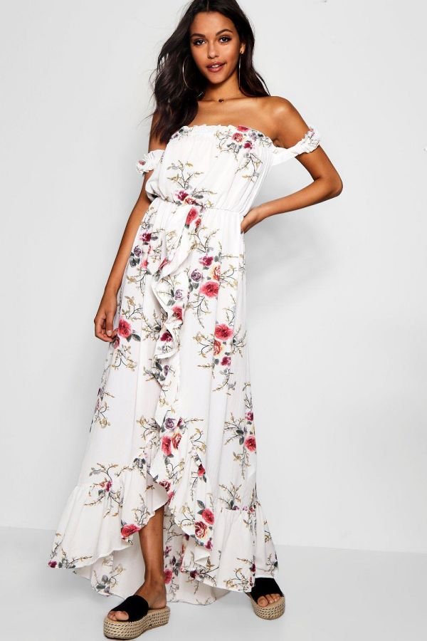 White Long Summer Dress Off the Shoulder Sleeves High Slit Dress