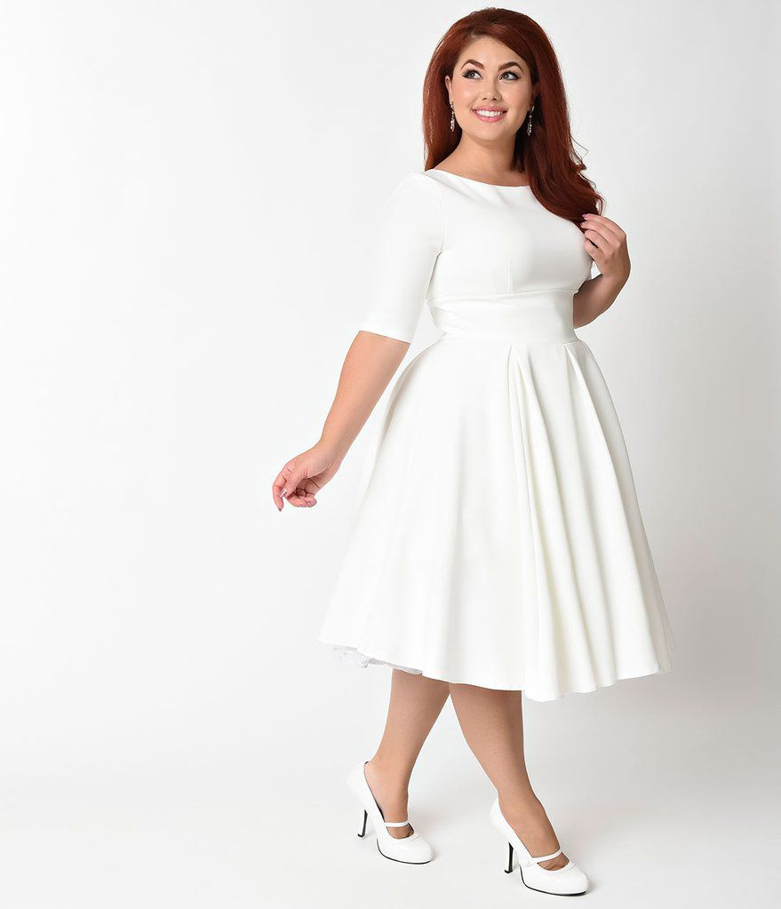 White Plus Size Dresses for Wedding Guests