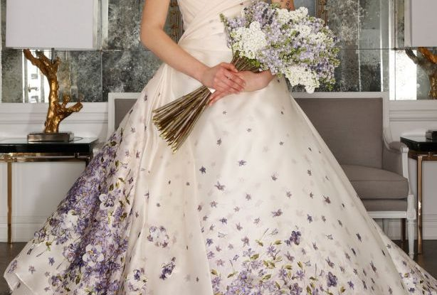 White Wedding Dress with Purple Floral Petals