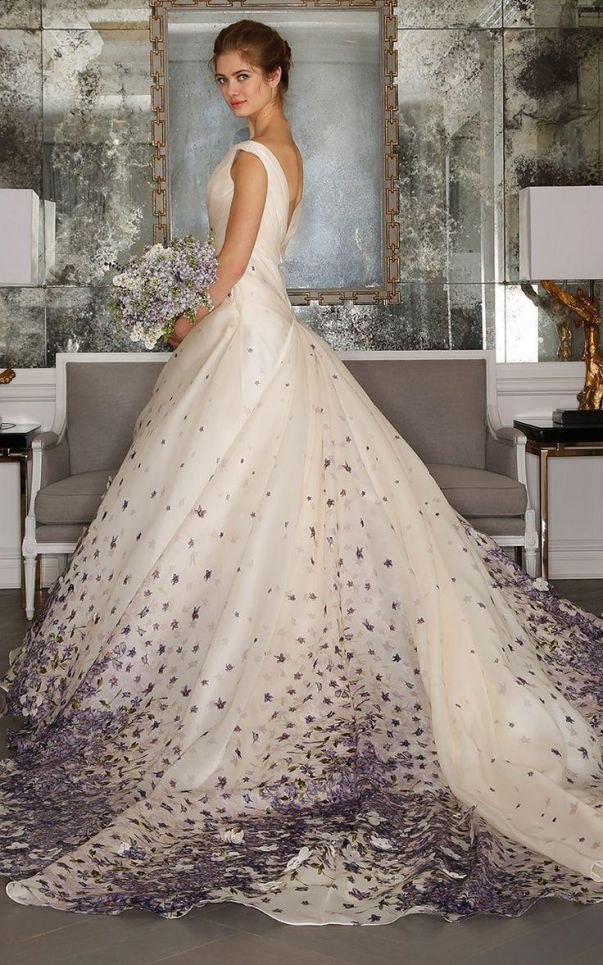 White Wedding Dress with Purple Floral Petals Other Side