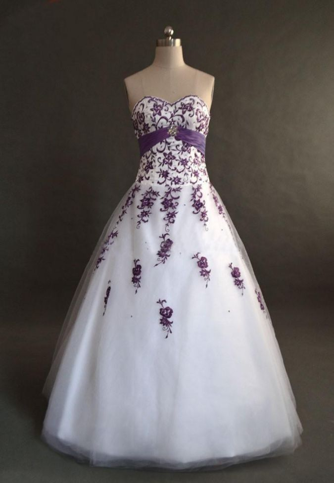 White and Purple Embroidery Wedding Dress
