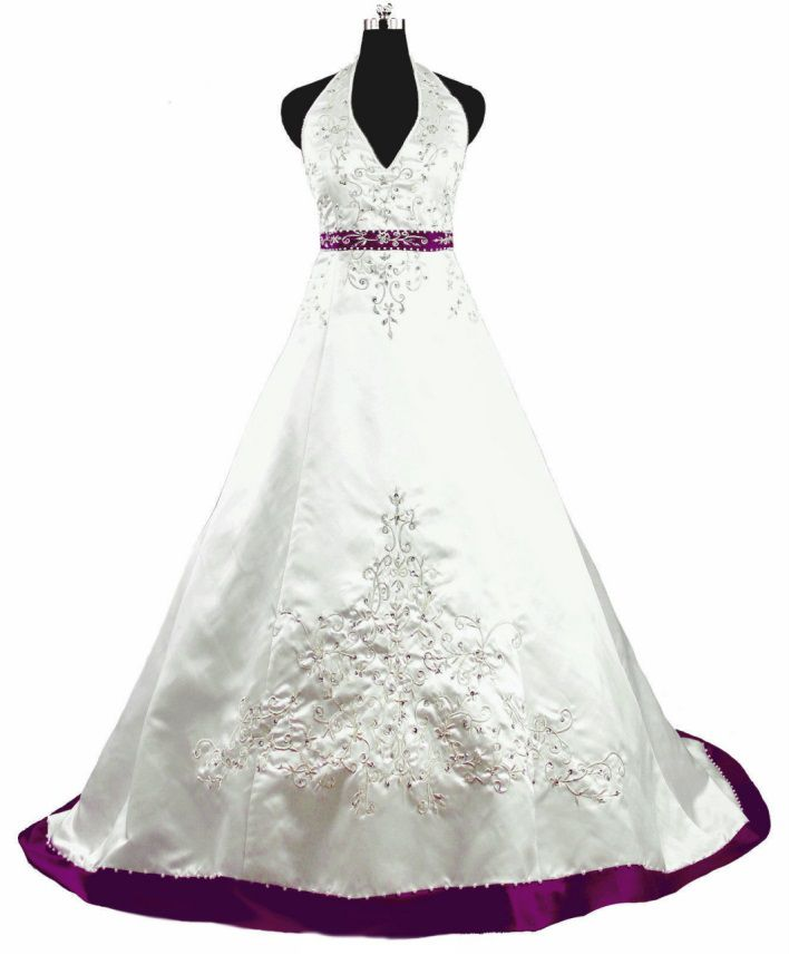 White and Purple Wedding Dress with Embroidery Halter Neck