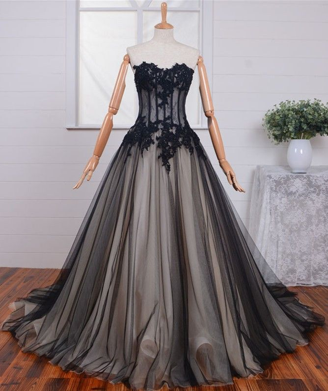 black wedding dress lace princesses strapless
